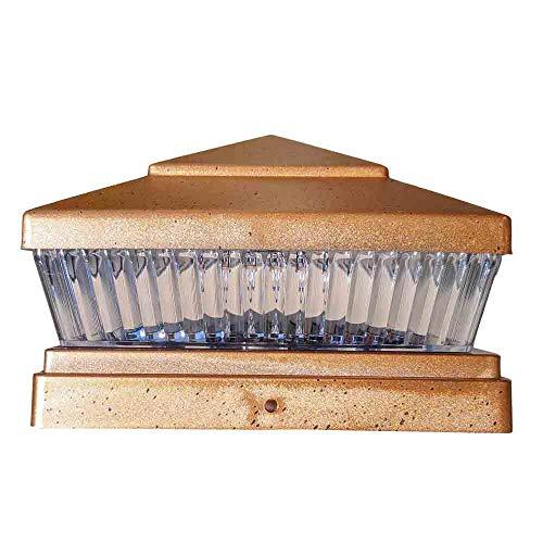 4 Pack Garden Sunlight Plastic Copper 6×6 Outdoor 5 LED 78lumens Solar Light Post Cap Light