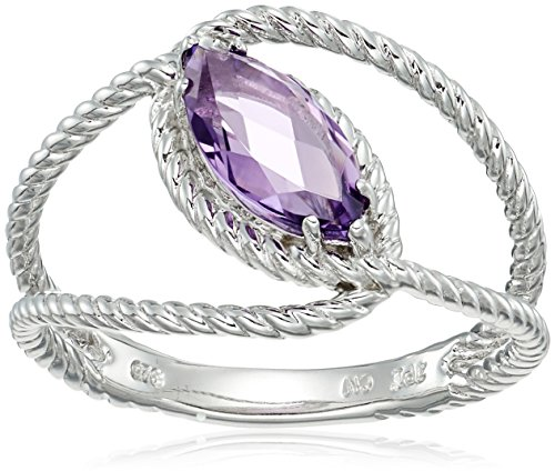 Sterling Silver Rope Marquise Amethyst Ring, Size (Silver Amethyst Rope)