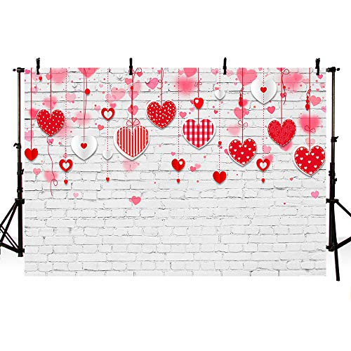 MEHOFOTO Valentines Day Photo Studio Background White Brick Wall Red Hearts Love Pattern Birthday Wedding Party Decoration Banner Backdrops for Photography 7x5ft