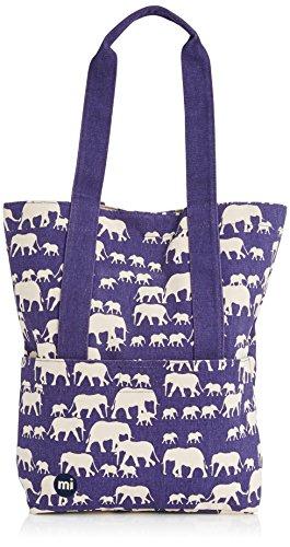 Mi-Pac Tarnrucksack, mit blauem Elefanten-Muster, mit Tragetasche, blau