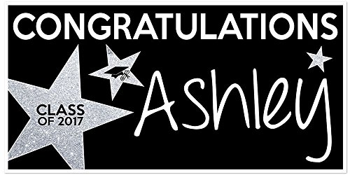 Class of 2017 Graduation Banner Personalized Party Backdrop Silver Glitter Star