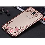 Little Flower Bling Thin Silicone Back Case Cover for Samsung Galaxy A7 2016 edition (Rose Pink)