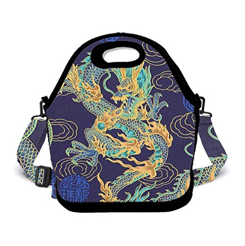 POP MKYTH Chinese Dragon Dragon Ball Art Christmas Insulated Neoprene Lunch Box for Girls Boys Kids Student, Washable Lunch Tote Bag with Zip Closure and 3D Adjustable Crossbody Shoulder Strap -
