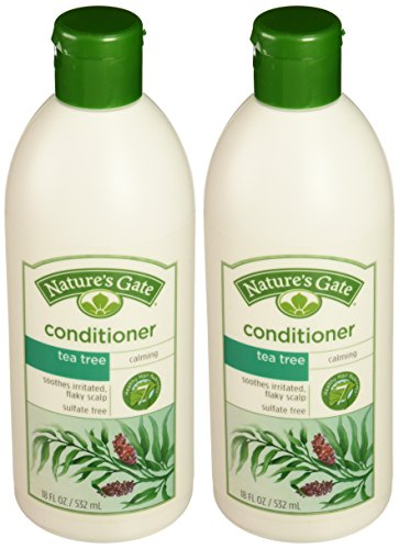 Natures Gate Tea Tree + Buckthorn Calming Conditioner 18 oz (Pack of 2)