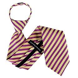 ZIP-11074 - Yellow - Magenta Mens Zipper Tie