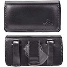 Black Horizontal Leather Case Side Pouch Cover Holster with Swivel Belt Clip for US Cellular Apple iPhone 5S - US Cellular Motorola ELECTRIFY M - US Cellular Samsung GALAXY S4 Mini (SCH-R890Z)