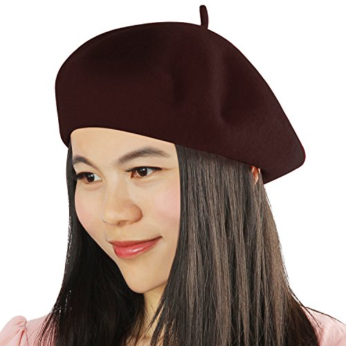 Acecharming Womens French Style Beret Wool Beanie Hat Cap(Thin, Brown)