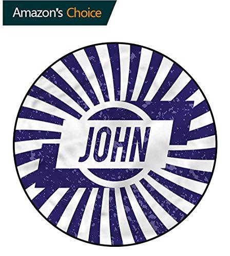 RUGSMAT John Super Soft Circle Rugs for Girls,Common Masculine Name Non-Slip No-Shedding Bedroom Soft Floor Mat ()