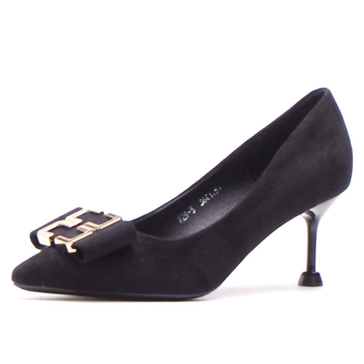 HBDLH Damenschuhe Im Frühjahr 2019 Mädchen Heel 7 cm Flache Schuhe Spitze Dünnen Absätzen 100 Sätze Schwarz Modisch Einzelne Schuhe