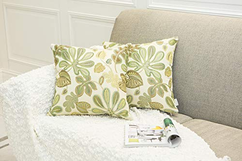 Mika Home Set of 2 Jacquard Tropical Leaf Pattern Throw Pillow Covers Decorative