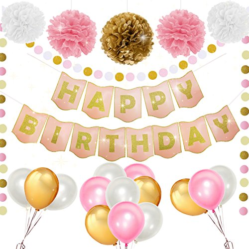 Happy Birthday Decorations Pink Golden Birthday Banner, Pom Poms, Paper Dots Garland Bitr Circle White Pink and Gold Birthday Balloons Little Girls Women Birthday Party Decor Supplies (pink) Birthday Decor
