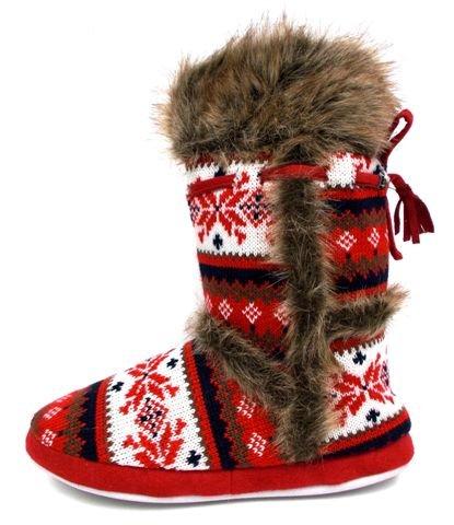 Dunlop Ladies womens girls fairisle knitted warm faux fur lined ...