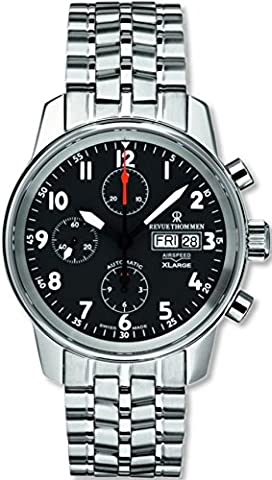 Revue Thommen Men's 16051-6137 Airspeed XLarge Chronograph Automatic Black Dial Watch (Geneva See Through Watch)