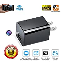 WEMLB 1080P HD Spy Camera Wireless Hidden Wall Plug USB Charger Hidden Camera Motion Detection Wireless Nanny Camera Ac Adapter WIFI Spy Hidden Camera, Loop Recording and Remote App Control