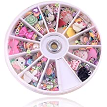 1200pcs Wheel Tips Glitters Rhinestones Slice Nail Art Random Mixed Decoration Manicure