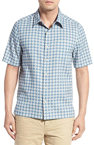 Nat Nast Luxury Originals Off The Grid Diamond Silk Blend Camp Shirt, Blue (X Large) - Nat Nast Camp Shirts