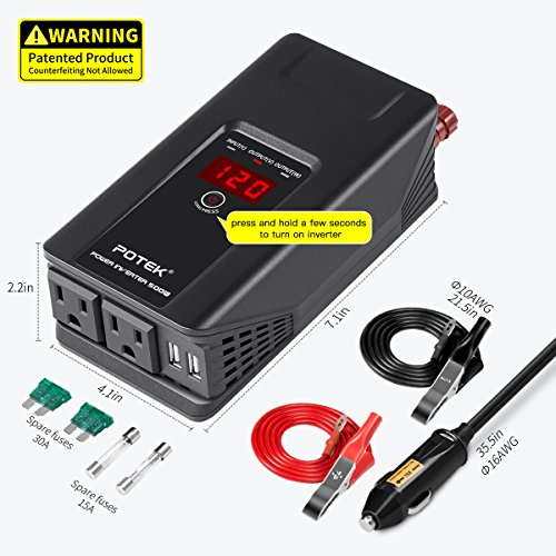 POTEK 500W Power Inverter DC 12V to 110V AC Car Converter with Digital Display Dual AC Outlets and Dual USB Charging Ports for Tablets, Laptop and Smartphones by POTEK (Image #1)