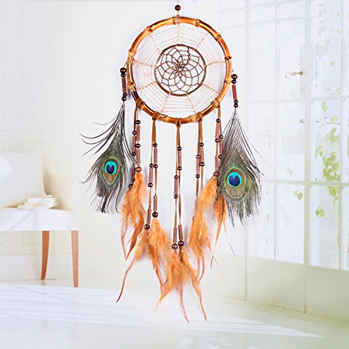 Ricdecor Handmade Indian Peacock Feathers Dream Catcher Wall Hanging Car Hanging Decoration Ornament 25.6 Inch Long (Dia 7 Peacock Feathers)