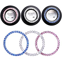 Yacoto 3 Pack Car Bling Ring Interior Crystal Rhinestone Bling Car Accessories Decor for Auto Start Engine Ignition Button Key & Knobs, Bling for Car Interior, Unique Gift for Women