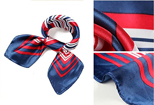 QBSM Womens Large Satin Silk Formal Square Scarf Neckerchief Head Neck Tie Band (Silk Uniform)