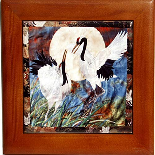 (Wood Framed Ceramic Tile Trivet with Pair of Cranes Art, Kitchen Decor, Birthday Housewarming Gift)