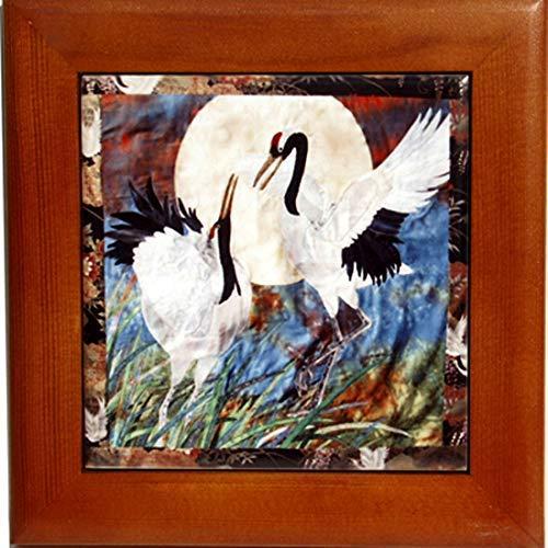 Wood Framed Ceramic Tile Trivet with Pair of Cranes Art, Kitchen Decor, Birthday Housewarming ()