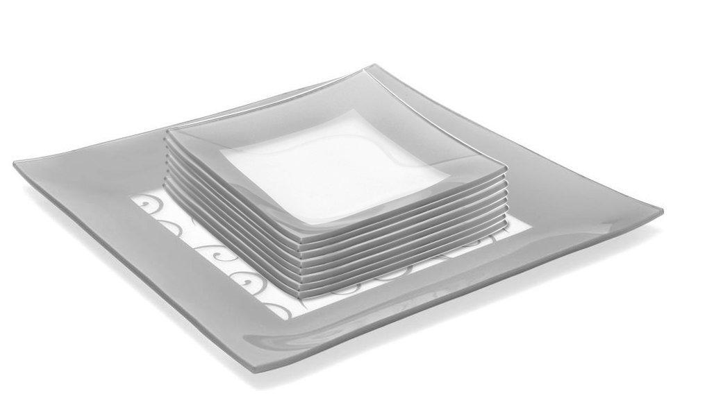 GAC Elegant Designed Square Tempered Glass Dessert Plates Set of 8, Plus Glass Square Serving Platter - Glass Completer Set – Break and Chip Resistant - Oven Proof - Microwave Safe - Dishwasher Safe