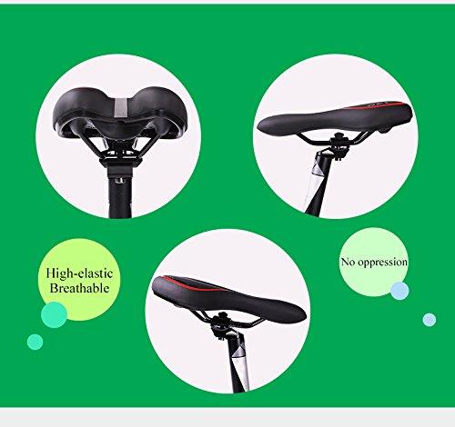 JUHALL Universal Bequem Fahhrad Sattel, Wasserdicht Gel Fahrradsattel mit Atmungsaktiv Design Leder Fahrradsitz Mountain Bike Sitzkisse Damen Herren Schwarz.