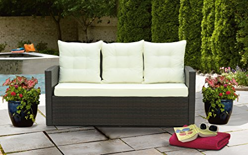 Rattan Pillow - Divano Roma Furniture Outdoor Patio Rattan Bench with Pillows (Brown/Beige)