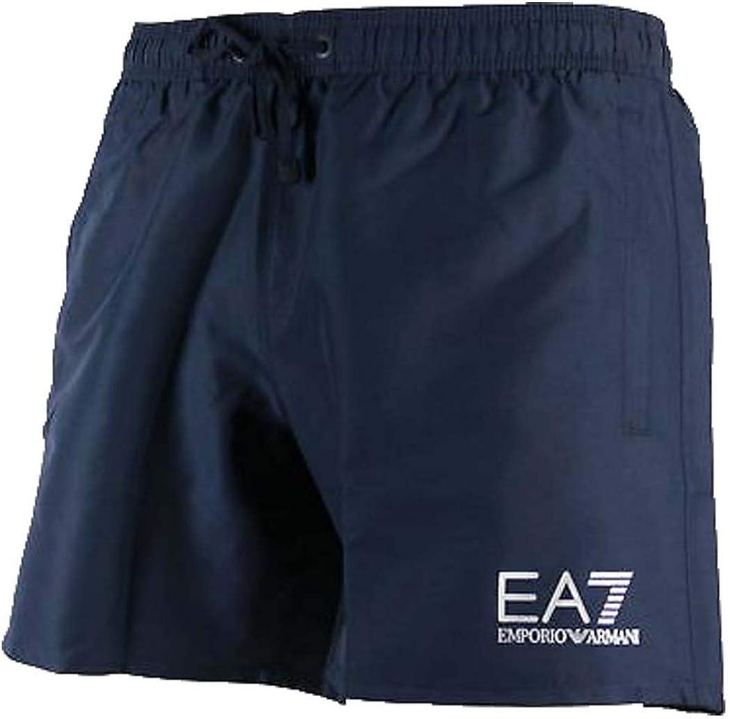 Emporio Armani Ea7 Natación Pantalones Cortos De Hombres, Azul Marino/plata