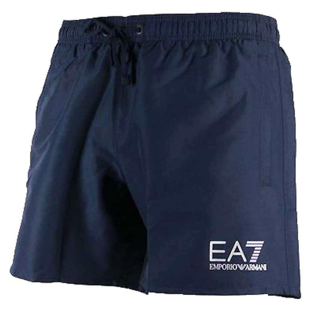 TALLA L. Emporio Armani Ea7 Natación Pantalones Cortos De Hombres, Azul Marino/plata