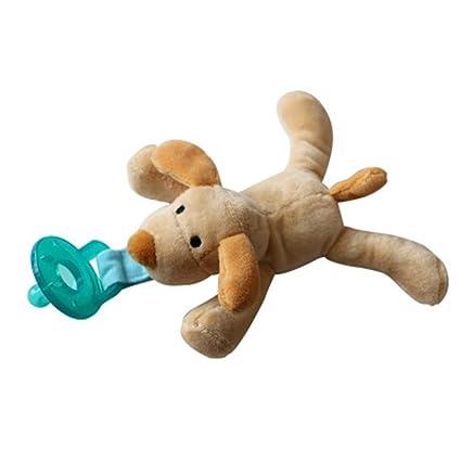 Isuper Chupete con Peluche para bebé,Juquete de muñeca infantil con Chupete de Silicona sin BPA forma de perro animado para niños