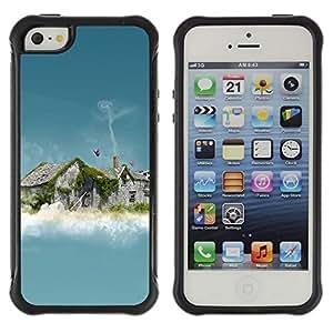 LASTONE PHONE CASE / Suave Silicona Caso Carcasa de Caucho Funda para Apple Iphone 5 / 5S / Abstract House Smoke