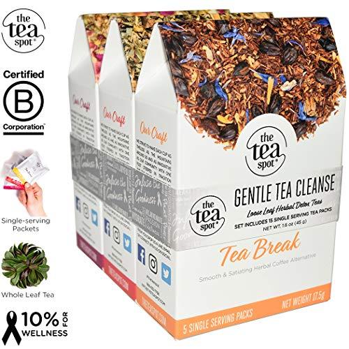 THE TEA SPOT, Gentle Tea Cleanse: 15 Herbal Loose Leaf Tea Packets | Flat Belly, Herbal Coffee, Hibiscus Sleepy Tea | Caffeine-Free Simple Steeps | Net Tea wt: 1.6 ()