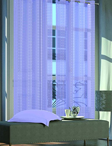 Dainty Home ELENI10884LI Eleni Plaid Grommet Window Panel Pair (Set of Two) 108x84'', Lilac (Window Curtain Pair 84' Panels)