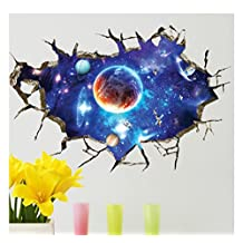 "Large Blue Sky 3D Self-adhesive Removable Break Through the Wall Vinyl Wall Sticker/Mural Art Decals Decorator (Blue Interstellar Space World of Galaxy Planets(23.6"" X 35.4""/ 60 X 90cm))"