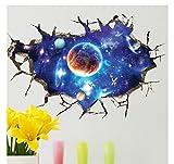 U-Shark Large Blue Sky 3D Self-Adhesive Removable Break Through The Wall Vinyl Wall Stickers/Murals Art Decals Decorator (Blue Interstellar Space World of Galaxy Planets(23.6' X 35.4'/ 60 X 90cm))