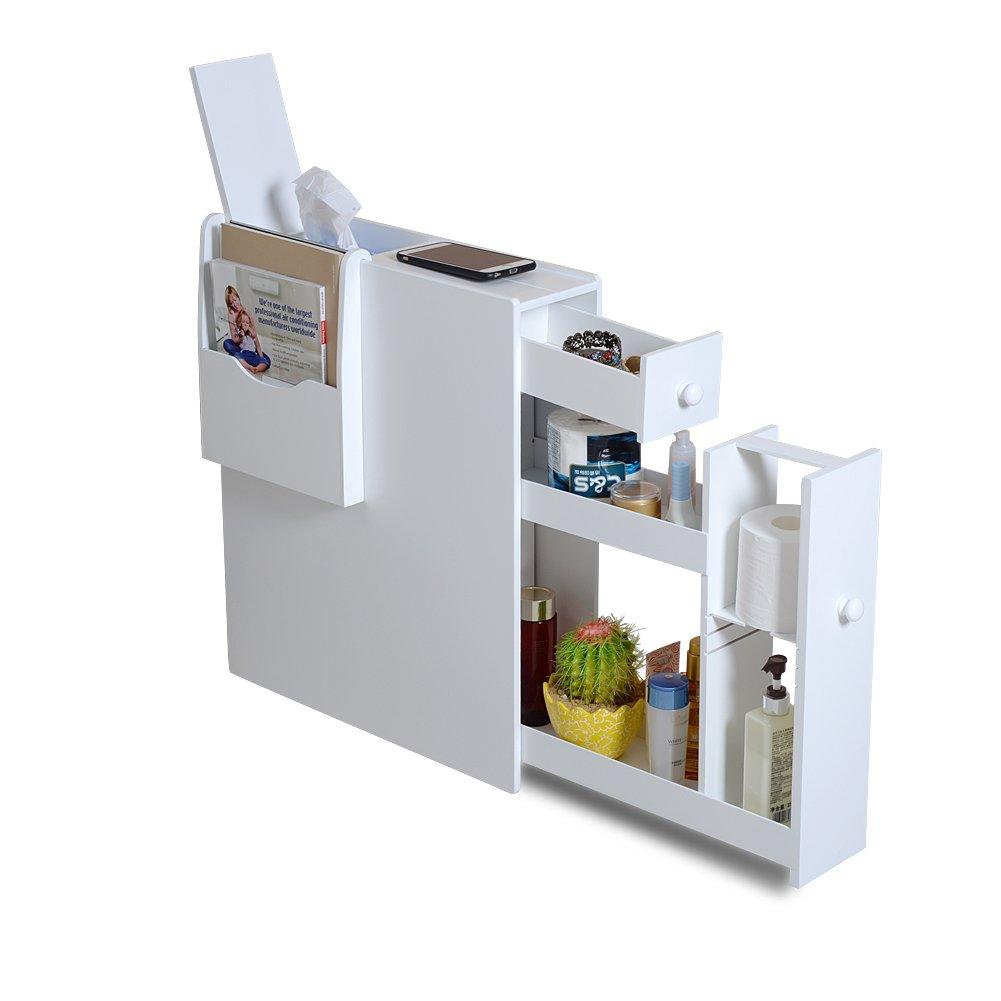 Organizedlife White Bathroom Floor Cabinet Storage with Drawer and Magazine Holder. Amazon com  Proman Products Bathroom Floor Cabinet  Kitchen  amp  Dining
