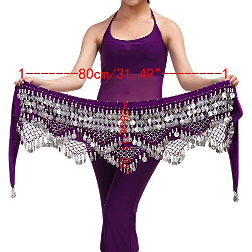 [Saymequeen Belly Dancing Dance Waist Chain Hip Scarf Skirt Belt With 320 Coins (dark purple & silver] (Scarf Coin Belly Dance Costumes)