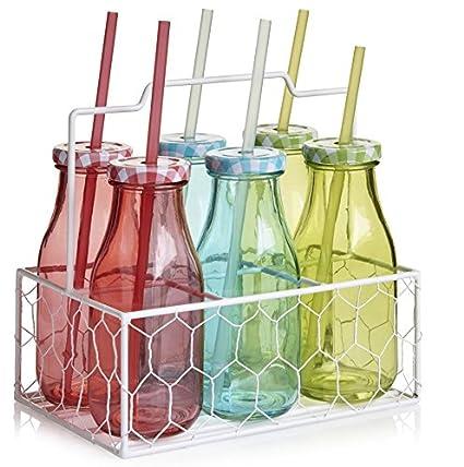 Vintage Multicolor 6 vidrio Mini botellas de leche, tapas y pajitas, llevar Caja