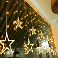 Led String Lights - 12 Stars Curtain Lights with 138 LEDs 8 Flash Modes Indoor Fairy Lights Warm White Decorations for Restaurant Bar Cafeshop Home and Window