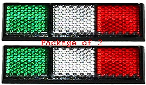 (Pack of 2! New Italian Flag Reflector for Car, Truck or Anywhere! Show Your Pride for Italy with an Italia Reflective Adhesive Backed Flag Bar)