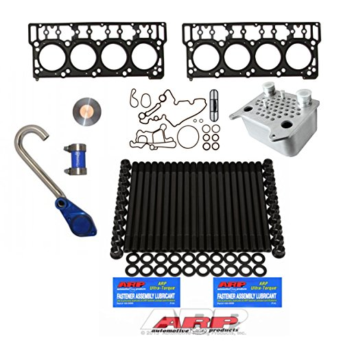 03-06 Ford Powerstroke 6.0L Diesel Custom ARP Head Stud Kit & Oem Style 18mm Head Gaskets &Sinister Diesel Oil Cooler Kit & Basic EGR Delete Kit - Solution Kit - Bundle (Sinister Diesel Oil)
