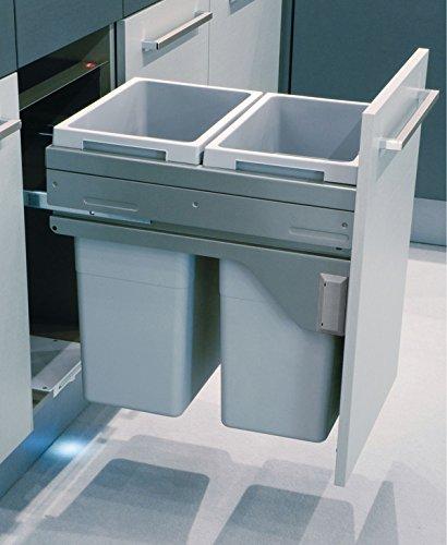 Hafele Waste Bin Pull Out Euro Cargo 45, with 2 x 38 Liter Bins, 110 lbs Load Bearing ()