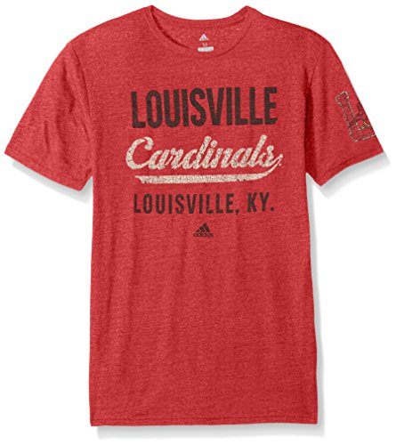 NCAA Louisville Cardinals Adult Men Stenciled Sweep Tri-Blend S/Tee, Large, Power Red ()
