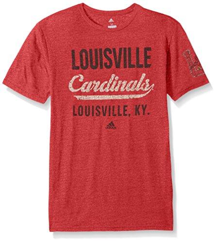 NCAA Louisville Cardinals Adult Men Stenciled Sweep Tri-Blend S/Tee, Medium, Power Red Heathered (Cardinal Football T-shirt)