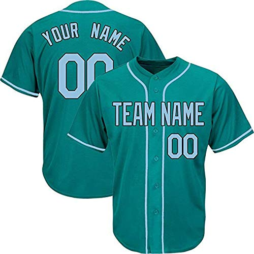 QimeiJer DIY Aqua Custom Baseball Jersey for Men Women Youth Full Button Embroidered Name & Numbers Make Your Own Team Logo (Color 7,XL)