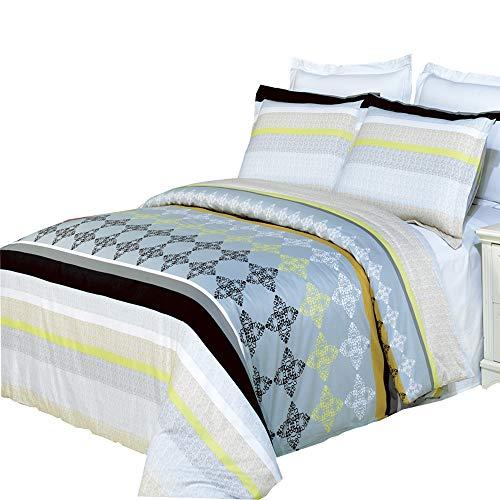 (8pcs Queen Size Bed in a Bag Printed Duvet Set Including Cotton South-Gate 3pcs Duvet Cover Set+ 4pcs Queen Sheet Set+ 1pc Full/Queen Down Alternative)
