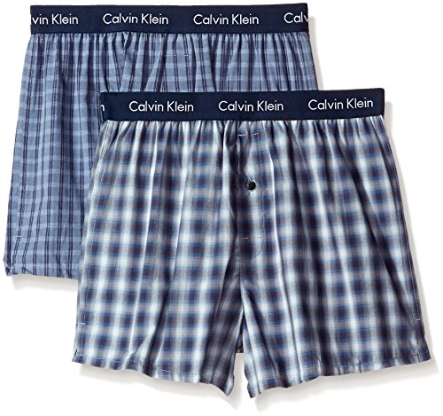 Calvin Klein Men's Woven Boxer, Solid Navy/Navy Plaid, Medium (Pack of 2) (Solid Woven Boxer)