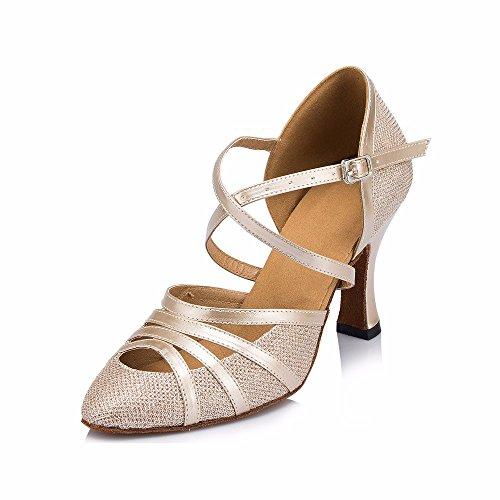 Masocking@ Dance Shoes - Zapatillas de Danza de Otra Piel para Mujer Goldb